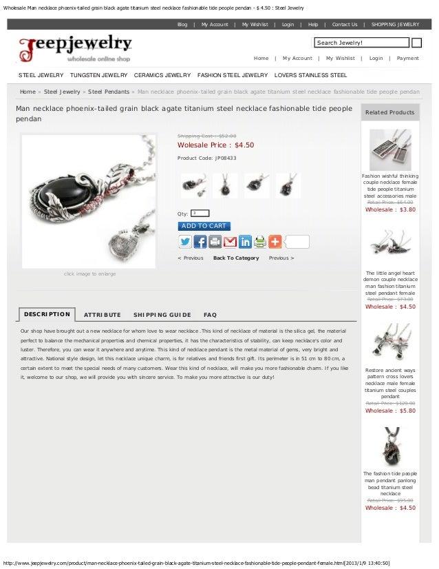 Wholesale Man necklace phoenix-tailed grain black agate titanium steel necklace fashionable tide people pendan - $ 4.50 : ...