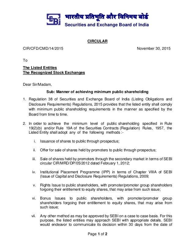 भारतीय प्रततभूतत और तितिमय बोर्ड Securities and Exchange Board of India Page 1 of 2 CIRCULAR CIR/CFD/CMD/14/2015 November ...