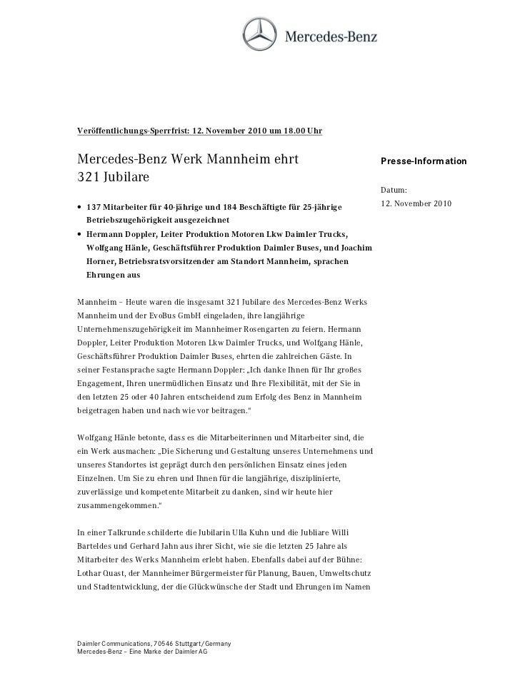 9HU|IIHQWOLFKXQJV6SHUUIULVW  1RYHPEHU  XP  8KUMercedes-Benz Werk Mannheim ehrt                                            ...