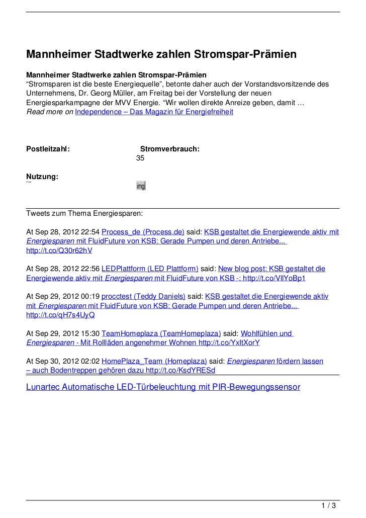 """Mannheimer Stadtwerke zahlen Stromspar-PrämienMannheimer Stadtwerke zahlen Stromspar-Prämien""""Stromsparen ist die beste Ene..."""