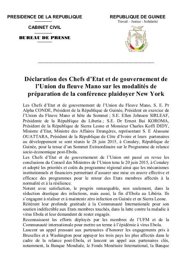REPUBLIQUE DE GUINEE Travail – Justice - Solidarité ____________________________________________________________ Déclarati...