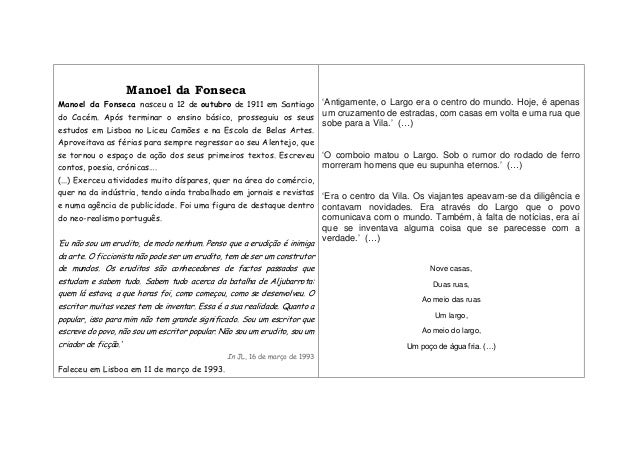 Manoel da Fonseca Manoel da Fonseca nasceu a 12 de outubro de 1911 em Santiago do Cacém. Após terminar o ensino básico, pr...