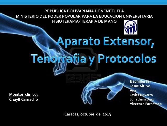 REPUBLICA BOLIVARIANA DE VENEZUELA MINISTERIO DEL PODER POPULAR PARA LA EDUCACION UNIVERSITARIA FISIOTERAPIA- TERAPIA DE M...