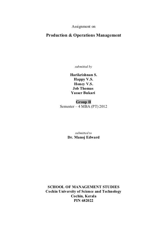 production operations management dissertations Optimization in production operations  production operations management is an area of interest to: (1) plant management  it is interesting to note that the.