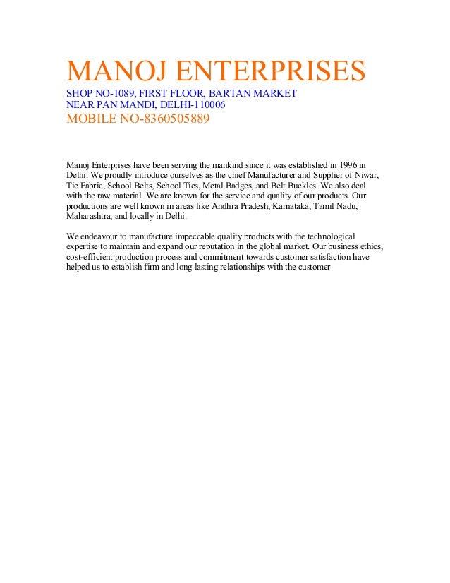 MANOJ ENTERPRISES SHOP NO-1089, FIRST FLOOR, BARTAN MARKET NEAR PAN MANDI, DELHI-110006 MOBILE NO-8360505889 Manoj Enterpr...