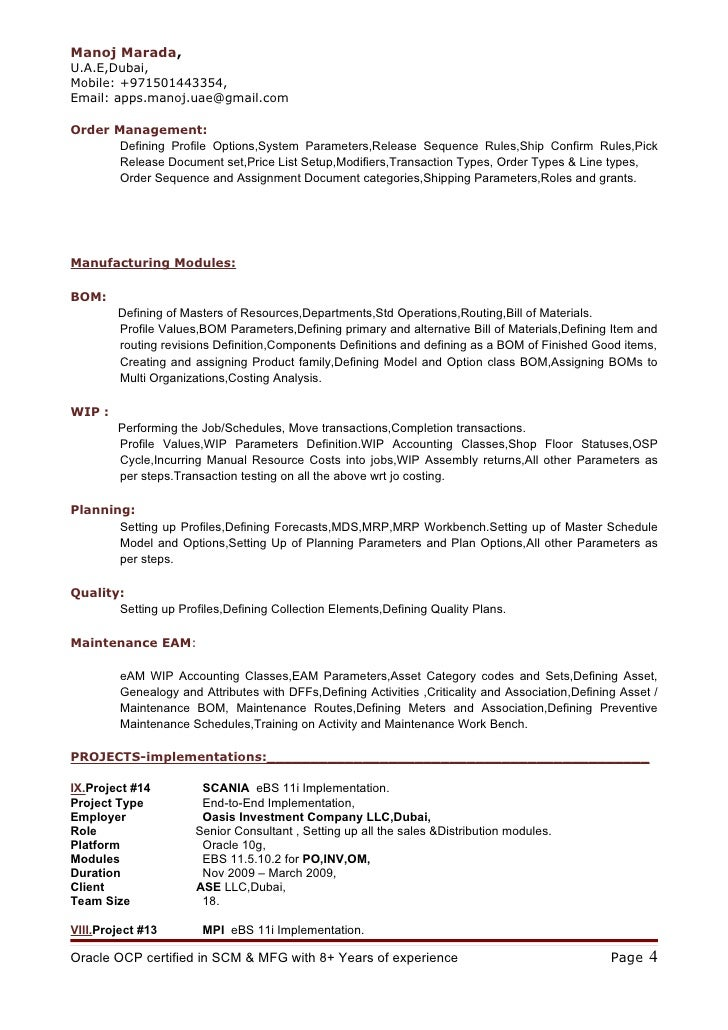 oracle manufacturing functional resume