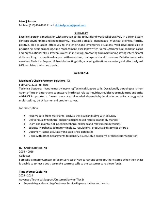 SlideShare  Technical Support Resume