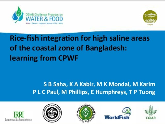 Rice-­‐fish	   integra/on	   for	   high	   saline	   areas	    of	   the	   coastal	   zone	   of	   Bangladesh:	   	    l...