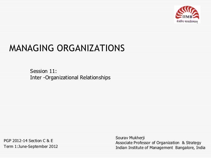 MANAGING ORGANIZATIONS            Session 11:            Inter -Organizational Relationships                              ...