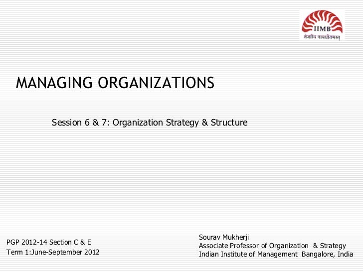 MANAGING ORGANIZATIONS            Session 6 & 7: Organization Strategy & Structure                                        ...