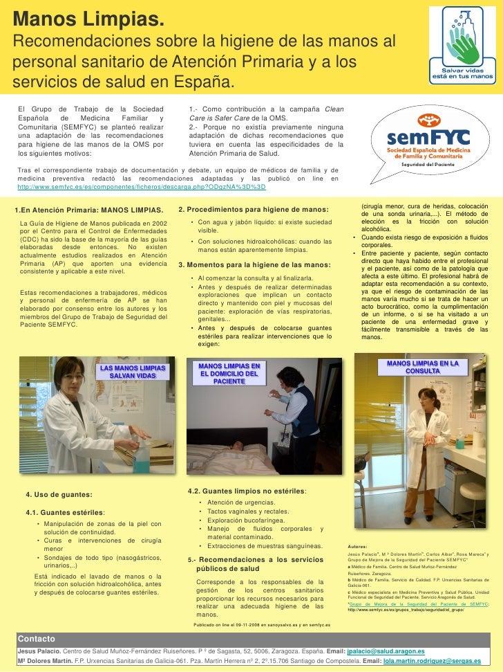 Manos Limpias. Recomendaciones sobre la higiene de las manos al personal sanitario de Atención Primaria y a los servicios ...