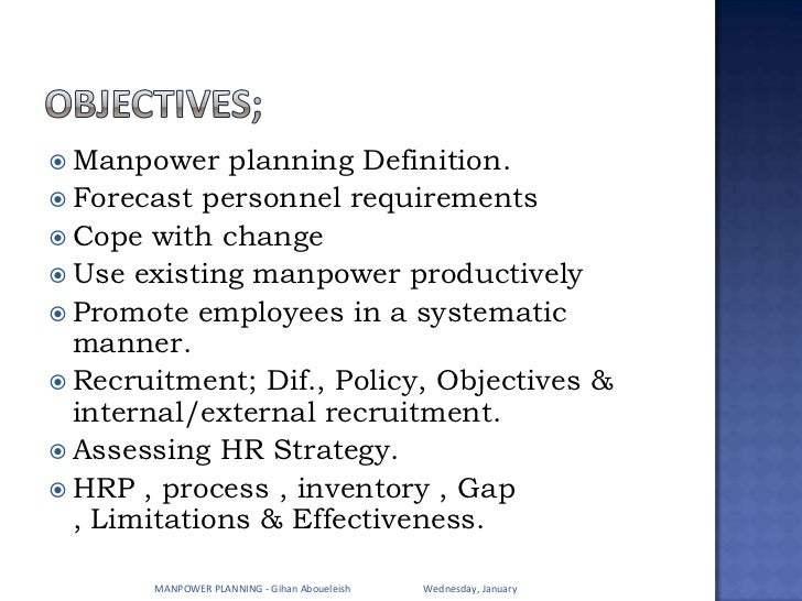 definition with manpower setting up in business