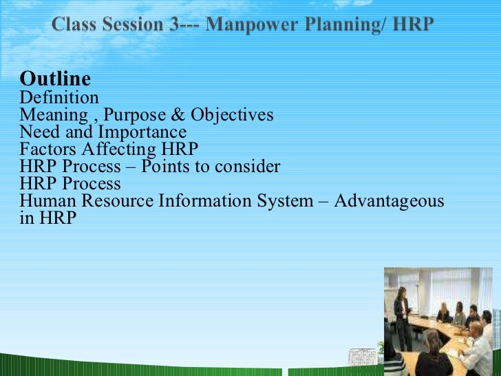 Outline  Definition Meaning , Purpose & Objectives Need and Importance  Factors Affecting HRP HRP Process – Points to cons...