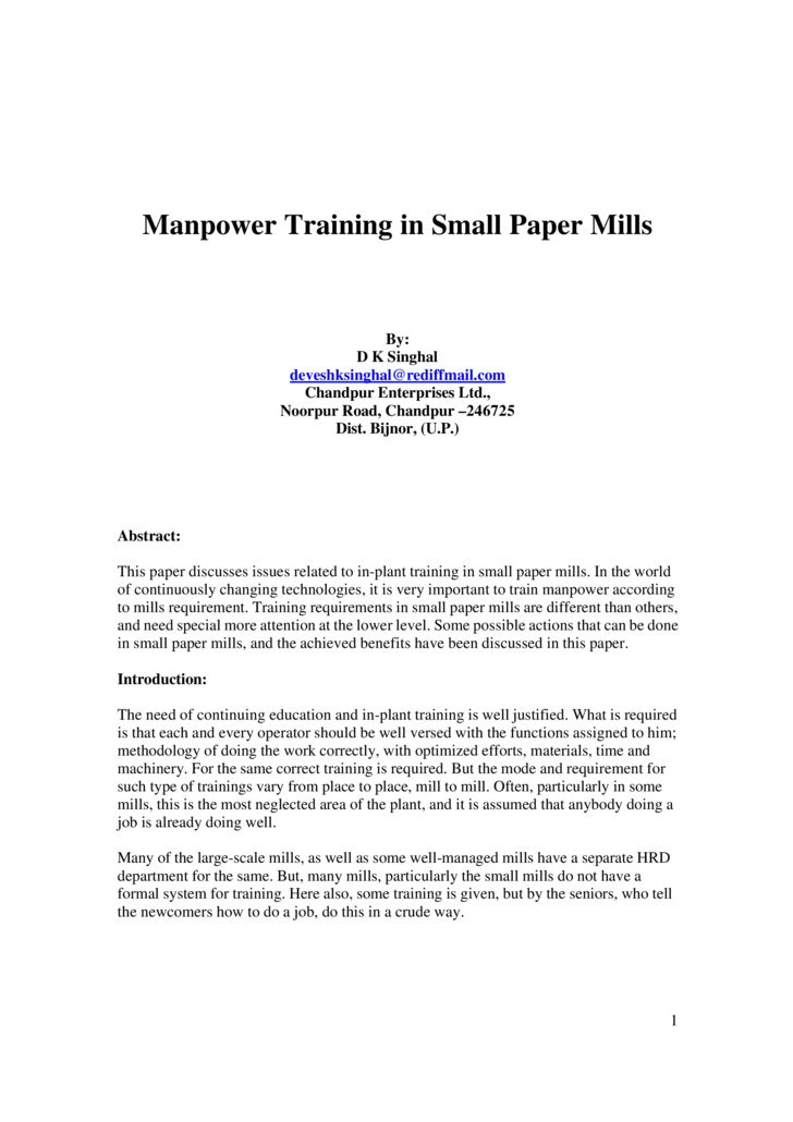 Manpower Training in Small Paper Mills                                            By:                                     ...