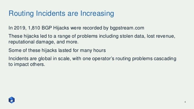 Routing Incidents are Increasing 4 In 2019, 1,810 BGP Hijacks were recorded by bgpstream.com These hijacks led to a range ...