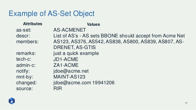 Example of AS-Set Object 41 as-set: descr: members: remarks: tech-c: admin-c: notify: mnt-by: changed: source: Attributes ...