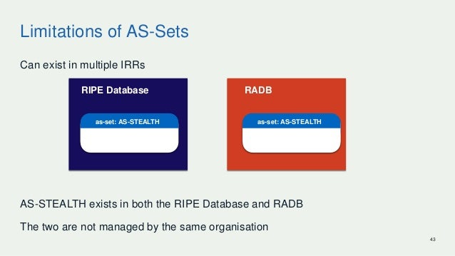 Limitations of AS-Sets Can exist in multiple IRRs AS-STEALTH exists in both the RIPE Database and RADB The two are not man...