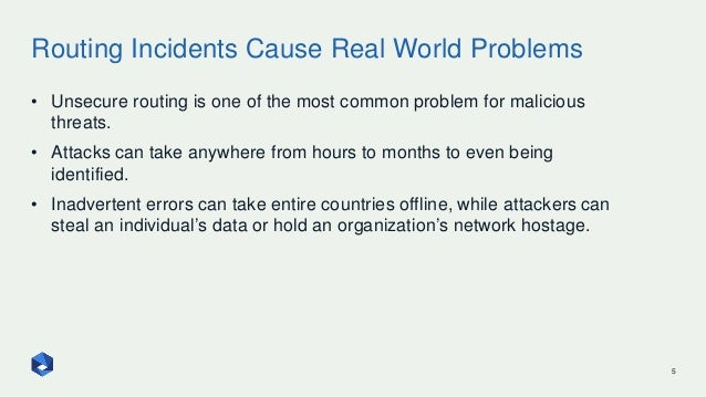 Routing Incidents Cause Real World Problems 5 • Unsecure routing is one of the most common problem for malicious threats. ...