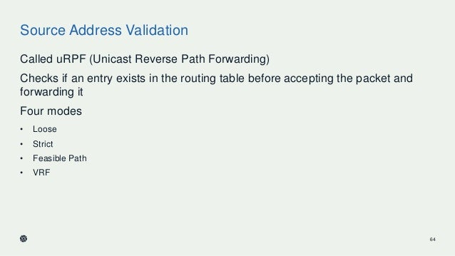 Source Address Validation Called uRPF (Unicast Reverse Path Forwarding) Checks if an entry exists in the routing table bef...