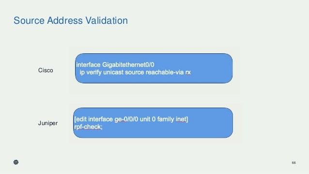 Source Address Validation 66 Cisco Juniper