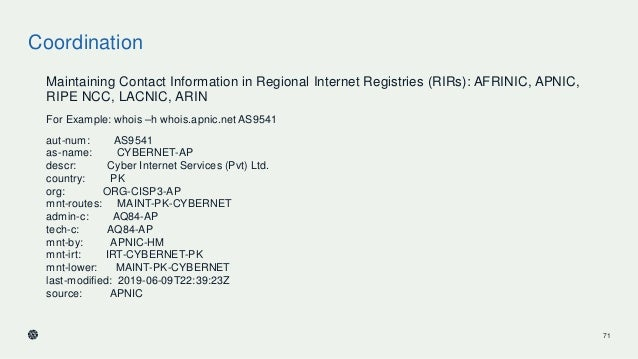 Coordination Maintaining Contact Information in Regional Internet Registries (RIRs): AFRINIC, APNIC, RIPE NCC, LACNIC, ARI...