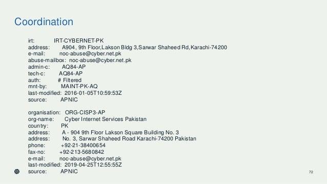 Coordination irt: IRT-CYBERNET-PK address: A904, 9th Floor,Lakson Bldg 3,Sarwar Shaheed Rd,Karachi-74200 e-mail: noc-abuse...