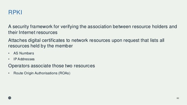 RPKI A security framework for verifying the association between resource holders and their Internet resources Attaches dig...