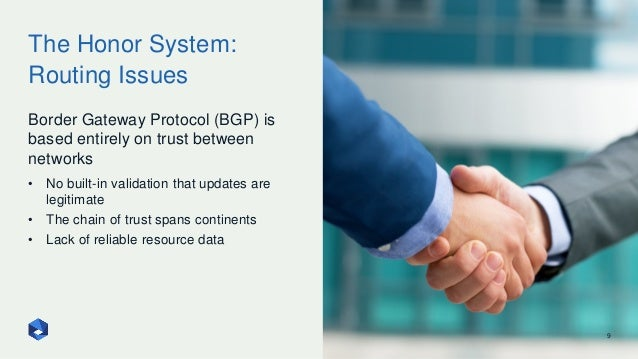 The Honor System: Routing Issues 9 Border Gateway Protocol (BGP) is based entirely on trust between networks • No built-in...