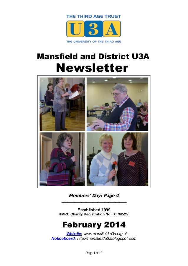 Mansfield and District U3A  Newsletter  Members' Day: Page 4 _____________________________ Established 1999 HMRC Charity R...