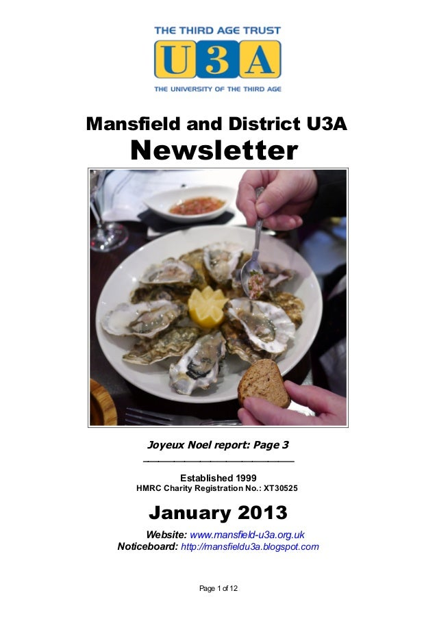 Mansfield and District U3A     Newsletter         Joyeux Noel report: Page 3        _____________________________         ...