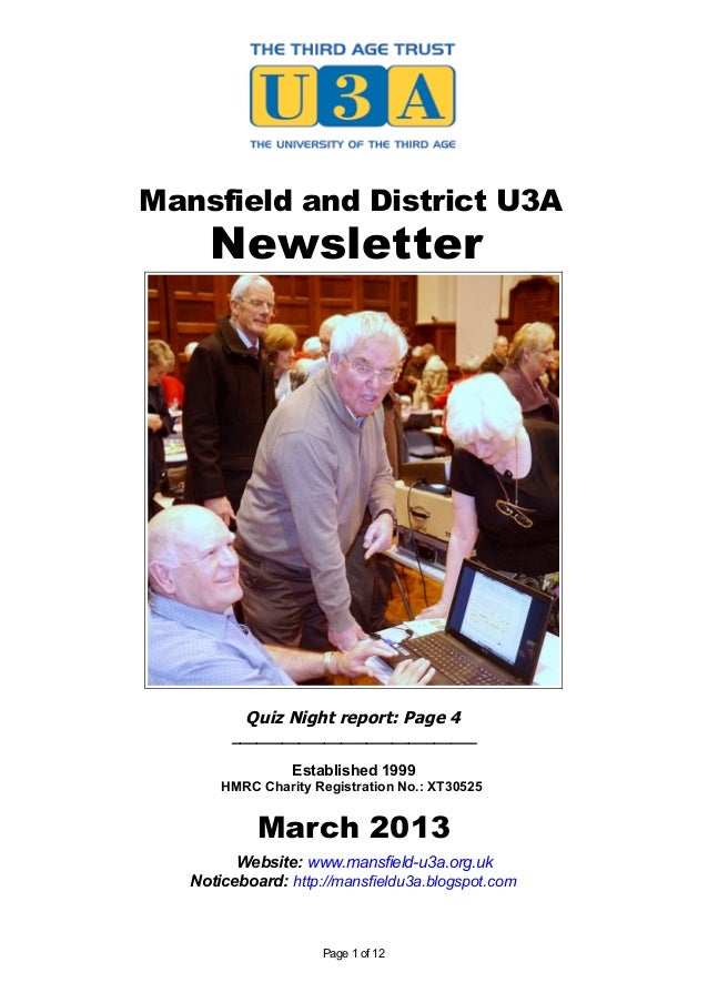 Mansfield and District U3A     Newsletter          Quiz Night report: Page 4        _____________________________         ...