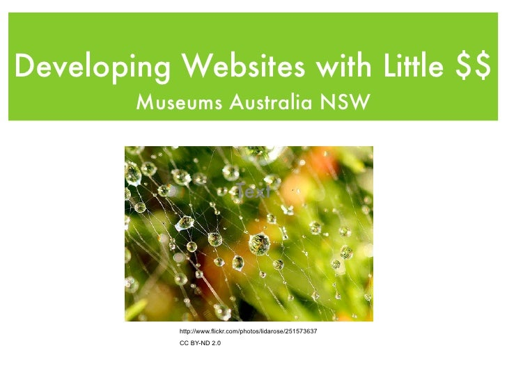 Developing Websites with Little $$         Museums Australia NSW                                  Text                http...