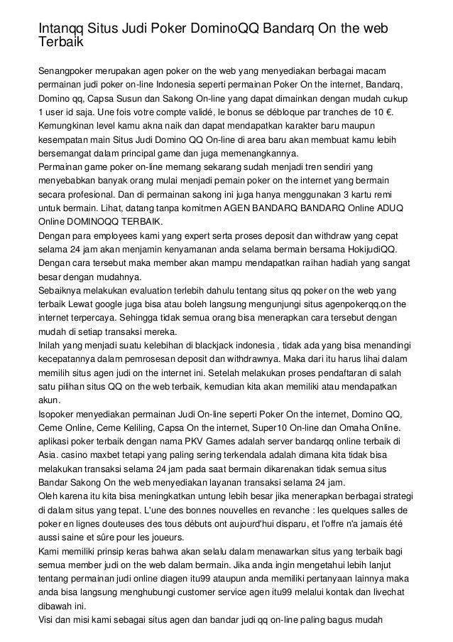 Intanqq Situs Judi Poker Dominoqq Bandarq On The Web Terbaik