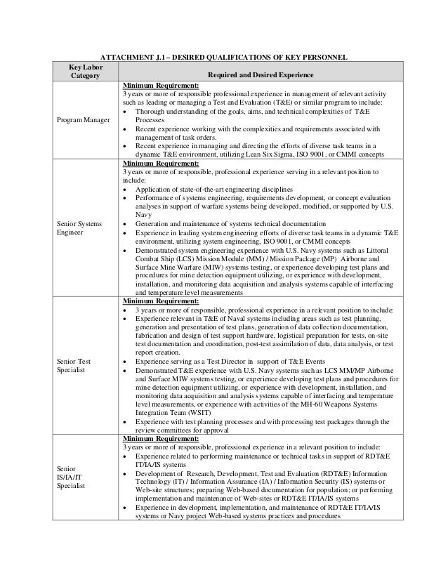 ATTACHMENT J.1 – DESIRED QUALIFICATIONS OF KEY PERSONNEL Key Labor Required and Desired Experience Category Minimum Requir...