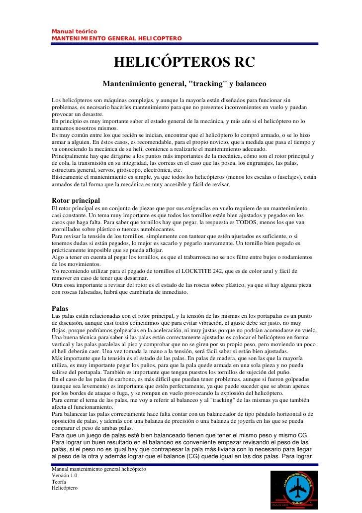 Manual teórico MANTENIMIENTO GENERAL HELICOPTERO                              HELICÓPTEROS RC                      Manteni...