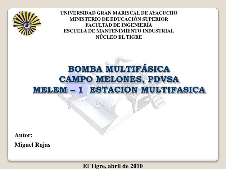 UNIVERSIDAD GRAN MARISCAL DE AYACUCHO<br />MINISTERIO DE EDUCACIÓN SUPERIOR<br />FACULTAD DE INGENIERÍA<br />ESCUELA DE MA...