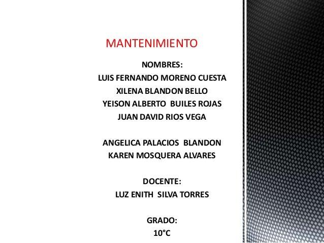NOMBRES:LUIS FERNANDO MORENO CUESTAXILENA BLANDON BELLOYEISON ALBERTO BUILES ROJASJUAN DAVID RIOS VEGAANGELICA PALACIOS BL...