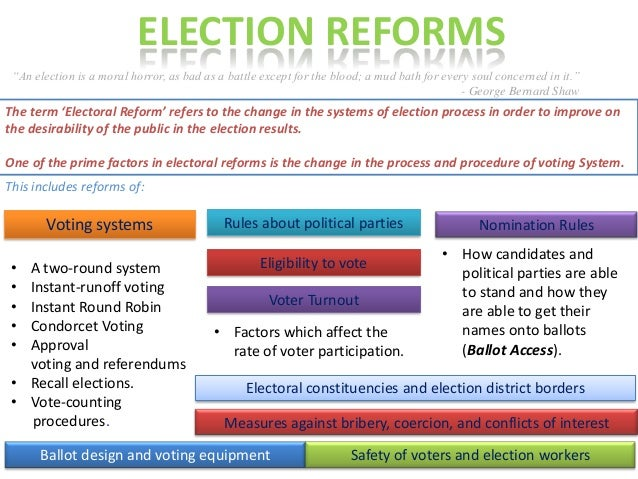 This includes reforms of: The term 'Electoral Reform' refers to the change in the systems of election process in order to ...