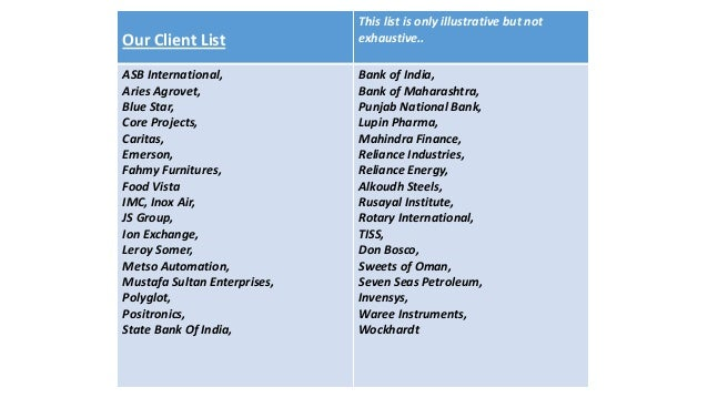 Training Credentials; 2. Our Client List ...  List Of Skills