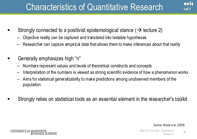 Quantitative research characteristics