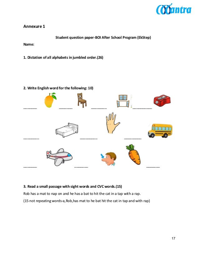 Annexure 1 Student question paper-BOI After School Program (EkStep) Name: 1. Dictation of all alphabets in jumbled order....