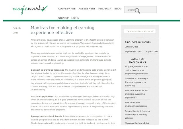 COURSEWARE ASSESSMENT FEEDBACK BLOG Search SIGN UP LOGIN Aug 18, 2015 Mantras for making eLearning experience effective Am...