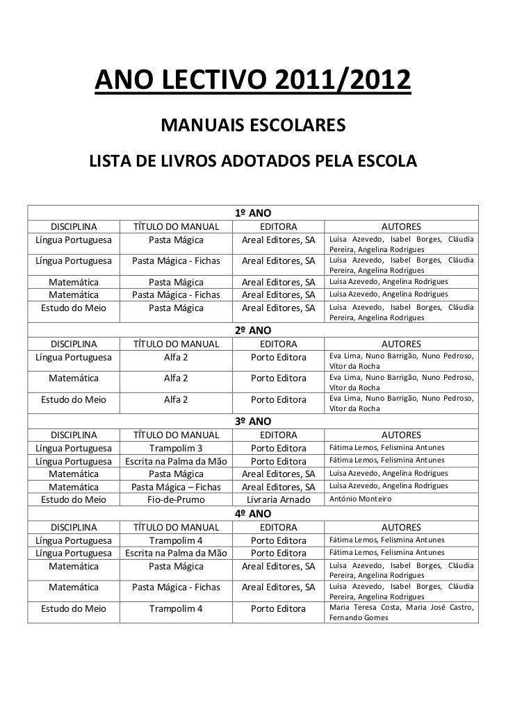 ANO LECTIVO 2011/2012                           MANUAIS ESCOLARES           LISTA DE LIVROS ADOTADOS PELA ESCOLA          ...