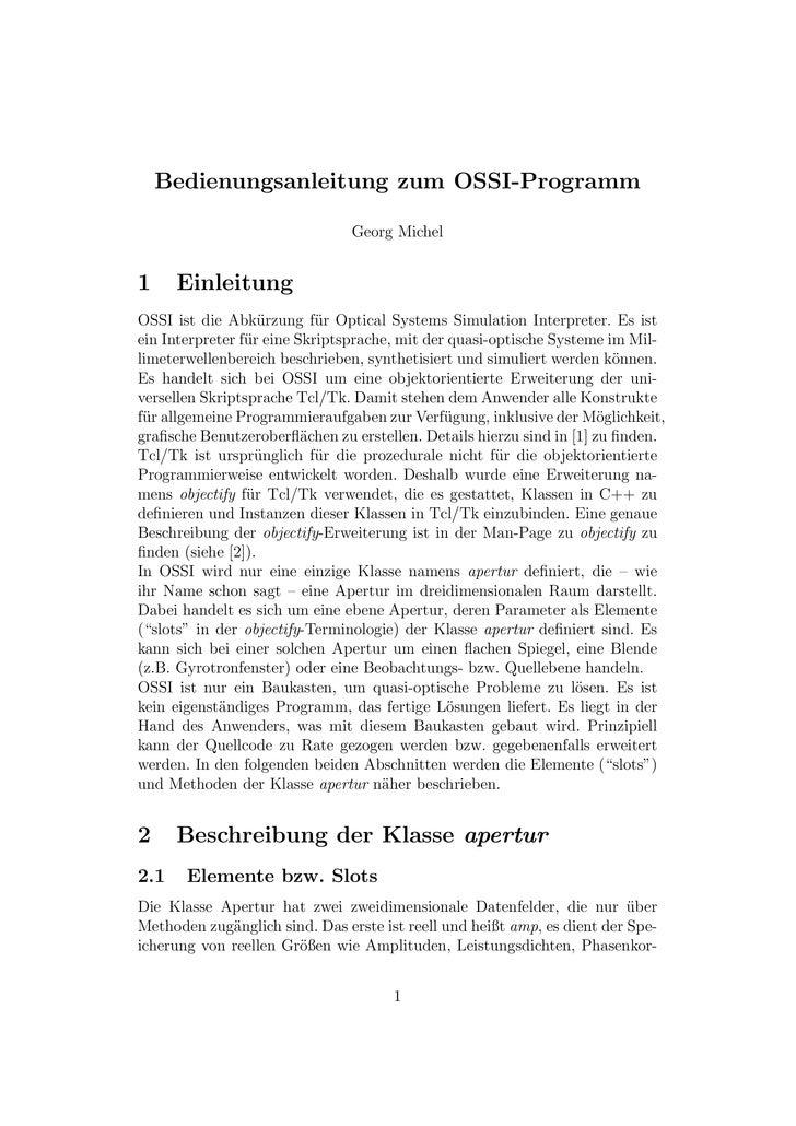 Bedienungsanleitung zum OSSI-Programm                                  Georg Michel   1     Einleitung OSSI ist die Abk¨rz...