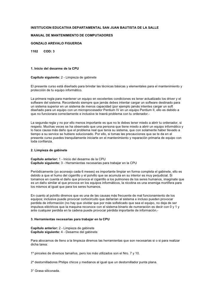 INSTITUCION EDUCATIVA DEPARTAMENTAL SAN JUAN BAUTISTA DE LA SALLE  MANUAL DE MANTENIMIENTO DE COMPUTADORES  GONZALO AREVAL...
