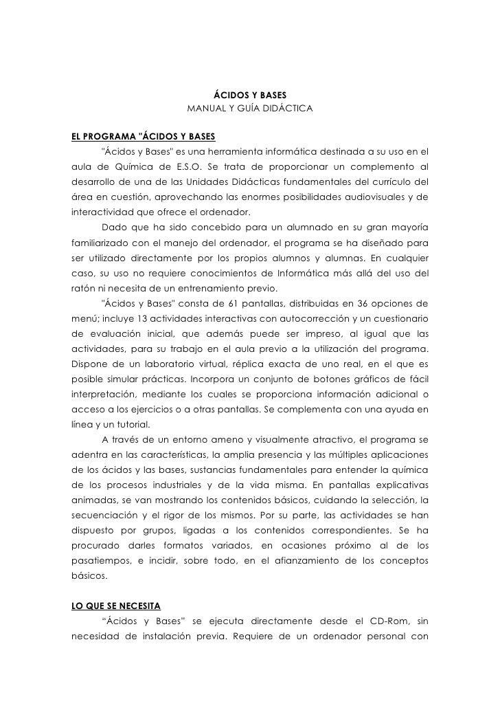 """ÁCIDOS Y BASES                          MANUAL Y GUÍA DIDÁCTICA   EL PROGRAMA """"ÁCIDOS Y BASES        """"Ácidos y Bases"""" es u..."""