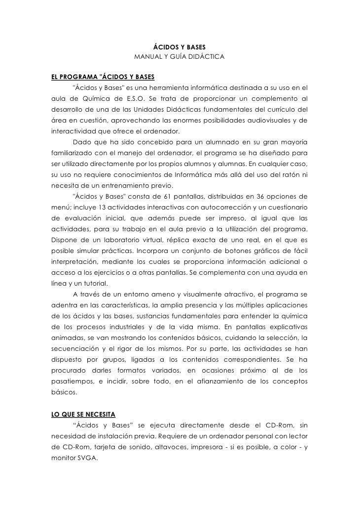 """ÁCIDOS Y BASES<br />MANUAL Y GUÍA DIDÁCTICA<br />EL PROGRAMA """" ÁCIDOS Y BASES<br />"""" Ácidos y Bases""""  es una herramienta i..."""