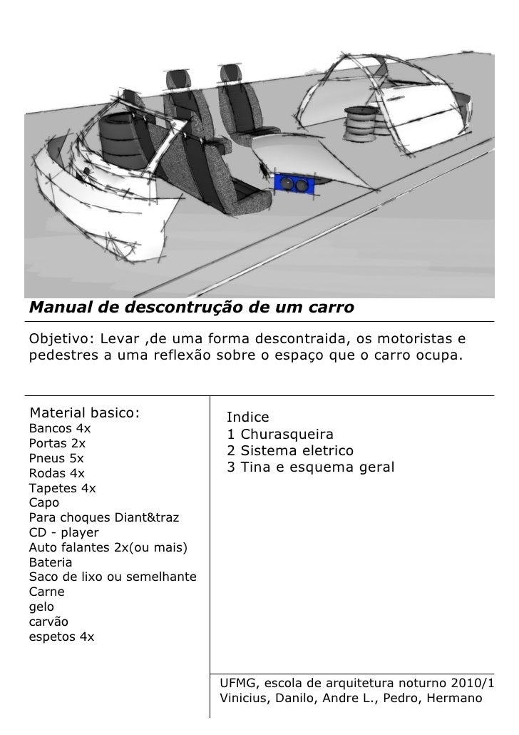 Manual de descontrução de um carro Objetivo: Levar ,de uma forma descontraida, os motoristas e pedestres a uma reflexão so...