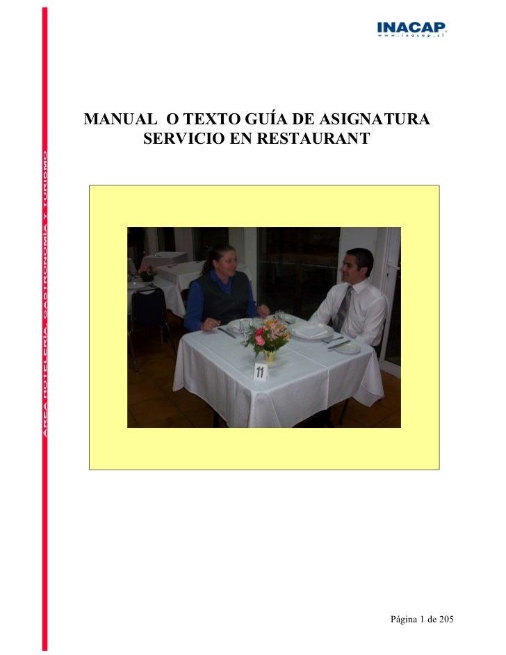 MANUAL O TEXTO GUÍA DE ASIGNATURA     SERVICIO EN RESTAURANT                             Página 1 de 205