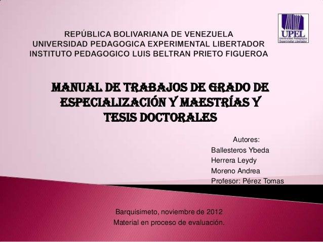 Manual de trabajos de grado de especialización y maestrías y       tesis doctorales                                       ...